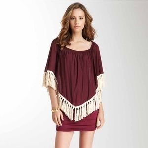 VaVa Mary Jane Burgundy Boho Style Dress w Tassels